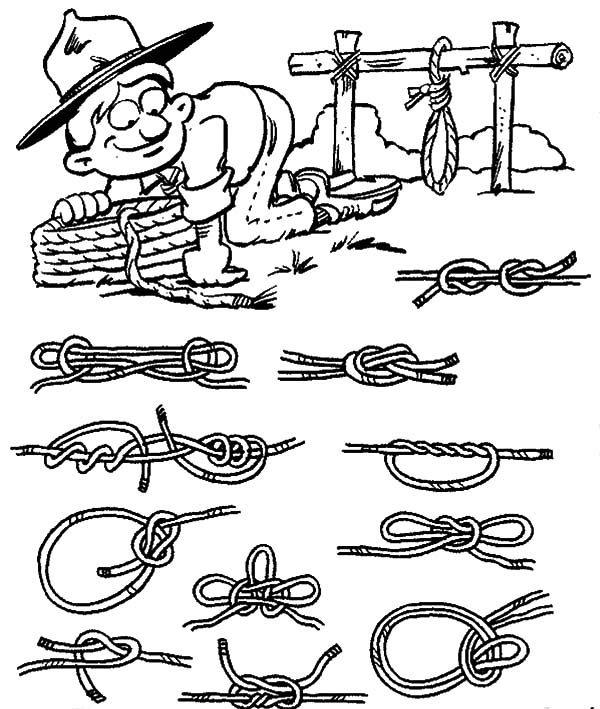 Scouting, : Scouting Teaches You to Twist Ropes Coloring Pages