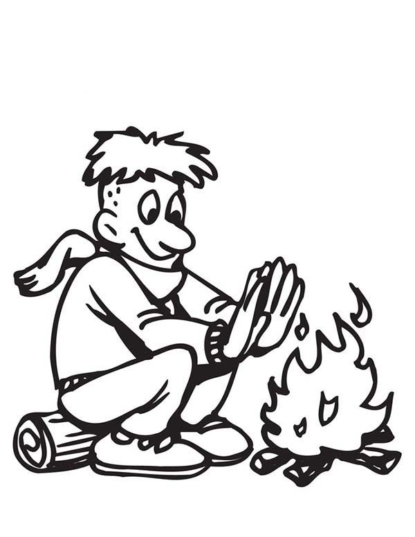 Scouting, : Self Warming with Fire in Scouting Coloring Pages