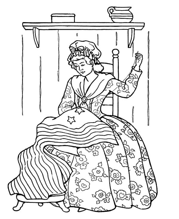 Patriots Day, : Sewing US Flag Patriots Day Coloring Pages
