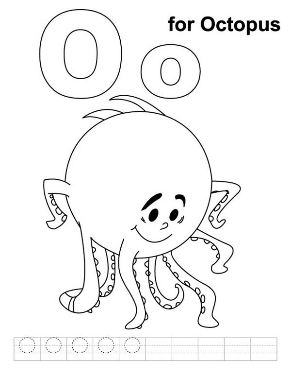 Letter O, : Shy Octopus for Letter O Coloring Page