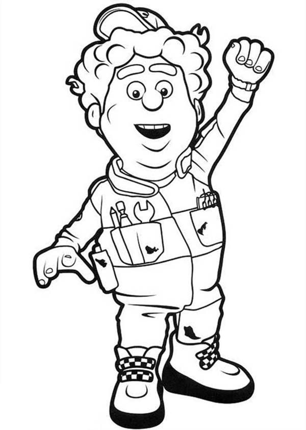 Roary the Racing Car, : Silver Hatch Race Track's Mechanic Big Chris in Roary the Racing Car Coloring Pages