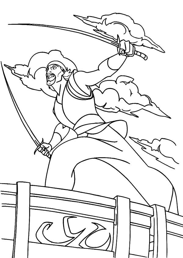 Sinbad the Sailor, : Sinbad the Sailor Fight with Two Sword Coloring Pages