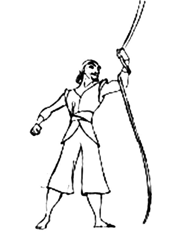 Sinbad the Sailor, : Sinbad the Sailor Holding Ship Rope Coloring Pages