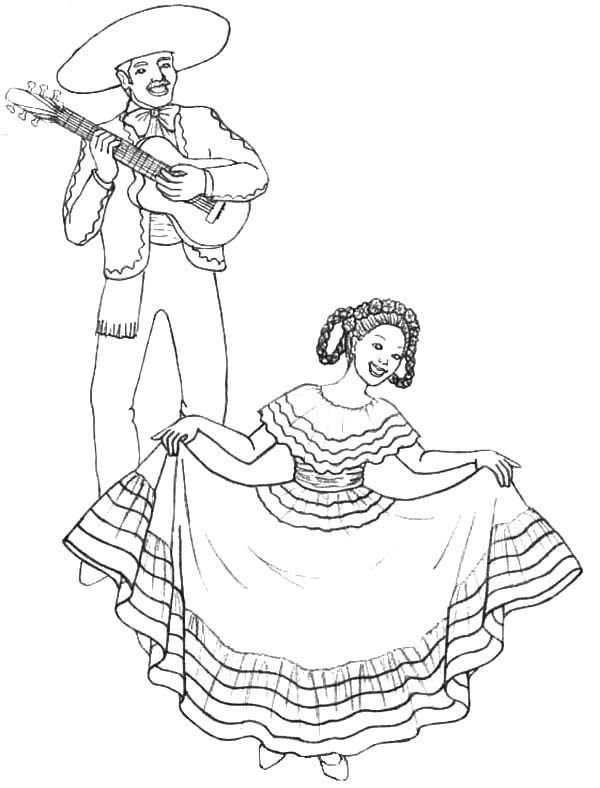 Cinco de Mayo, : Singing and Dancing in Cinco de Mayo Coloring Pages