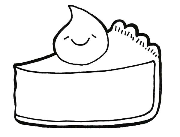 Cake Slice, : Smile Topping Cake Slice Coloring Pages
