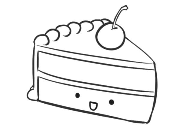 Cake Slice, : Smiling Cake Slice Coloring Pages