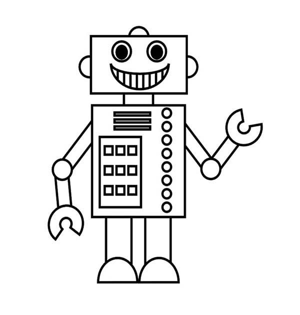 smiling robot coloring pages - Robot Coloring Page