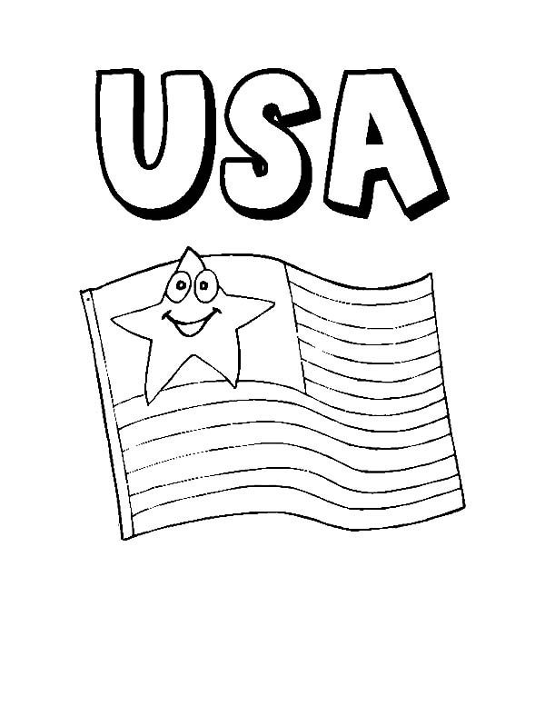 Patriots Day, : Smiling US Flag Patriots Day Coloring Pages