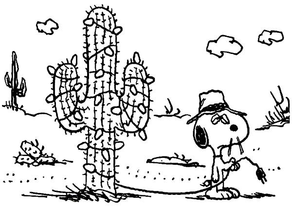 Snoopy, : Snoopy Cactus Christmas Tree Coloring Pages