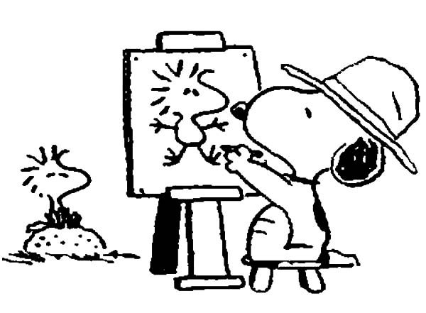 Snoopy, : Snoopy Drawing Woodstock on Canvas Coloring Pages