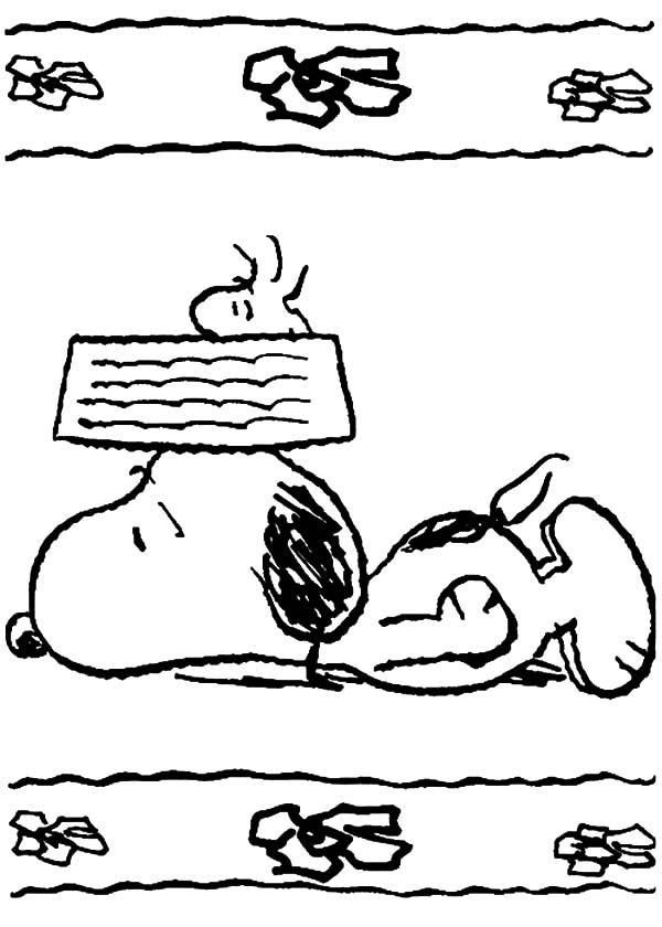 Snoopy, : Snoopy Feeling Tired Coloring Pages