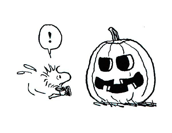 Snoopy, : Snoopy Friend Woodstock Looking at Halloween Pumpkin Coloring Pages
