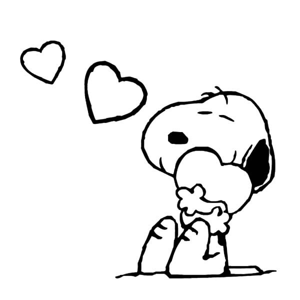 Snoopy hold his love tight coloring pages best place to color