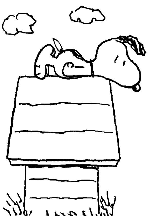 Snoopy, : Snoopy Laying on Top of His House Coloring Pages