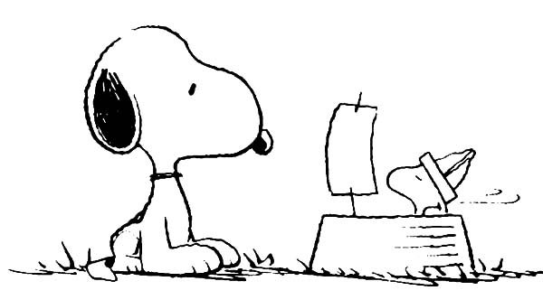 Snoopy, : Snoopy Looking at Woodstock Playing Paper Ship Coloring Pages