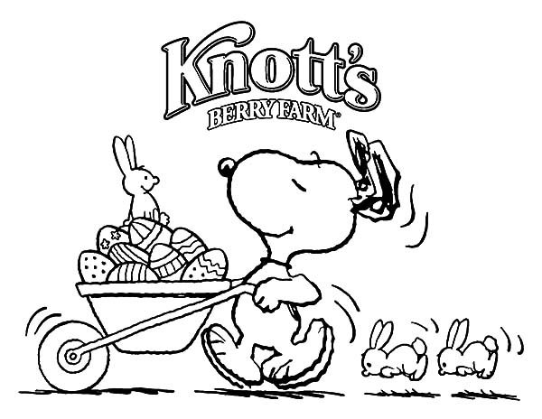 Snoopy, : Snoopy Push Cart Full of Easter Eggs Coloring Pages