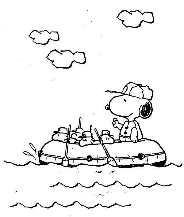 Snoopy, : Snoopy Rafting with Woodsatock Gang Coloring Pages