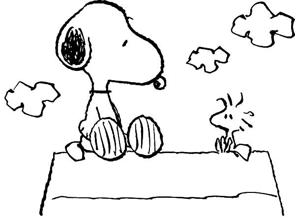 Snoopy Sitting with Woodstock Telling Story Coloring Pages | Best ...