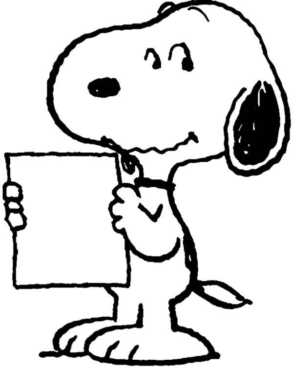 Snoopy, : Snoopy Take a Note Coloring Pages
