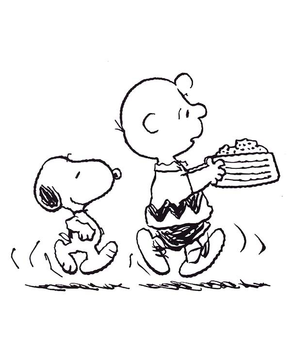 Snoopy, : Snoopy and Charlie Bring Birthday Cake Coloring Pages