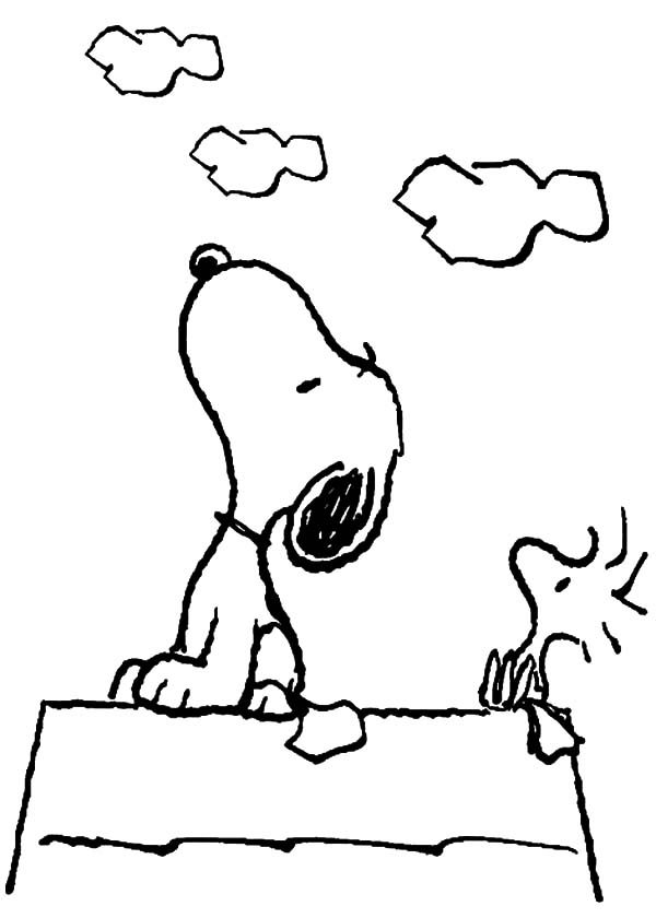 Snoopy, : Snoopy and Woodstock Looking at the Sky Coloring Pages