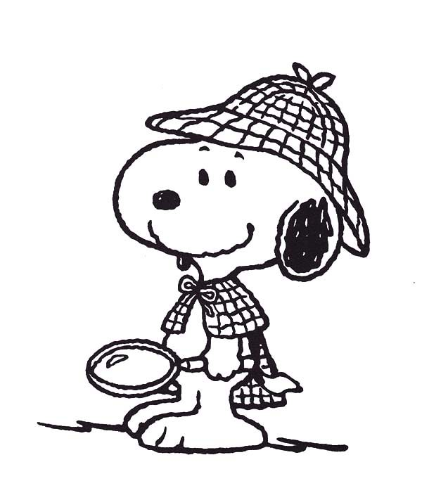 Snoopy, : Snoopy the Private Detective Coloring Pages