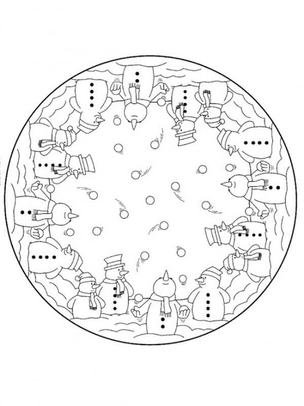 Christmas Mandala, : Snowman Juggling with Snow Mandala Christmas Coloring Pages