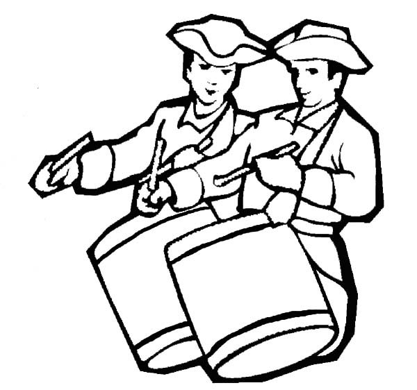 Patriots Day, : Soldier Beating the Drums Patriots Day Coloring Pages