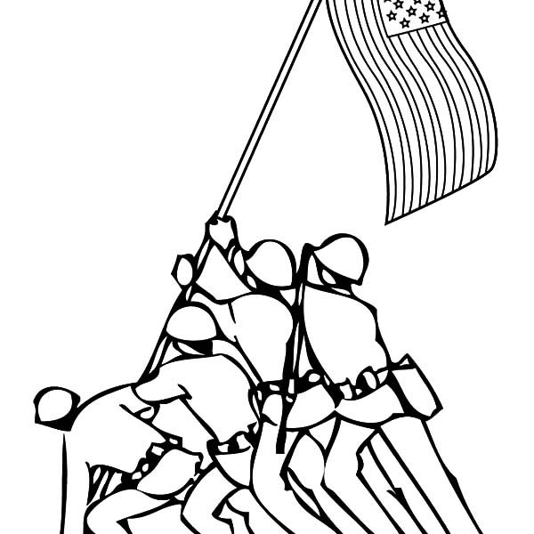Patriots Day, : Soldier Keep Our Flag Stand Patriots Day Coloring Pages