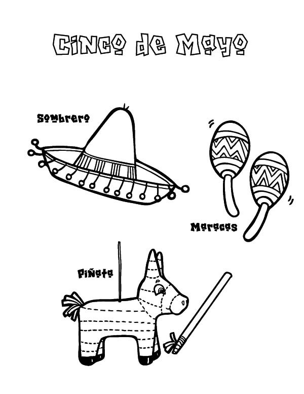 Cinco de Mayo, : Sombrero Maracas and Pinata for Cinco de Mayo Coloring Pages