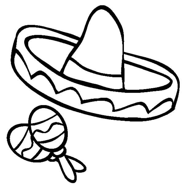 Cinco de Mayo, : Sombrero and Maracas for Cinco de Mayo Coloring Pages