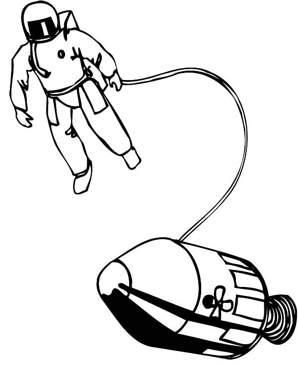 Space Travel, : Space Travel Astronaut and Space Ship Coloring Pages