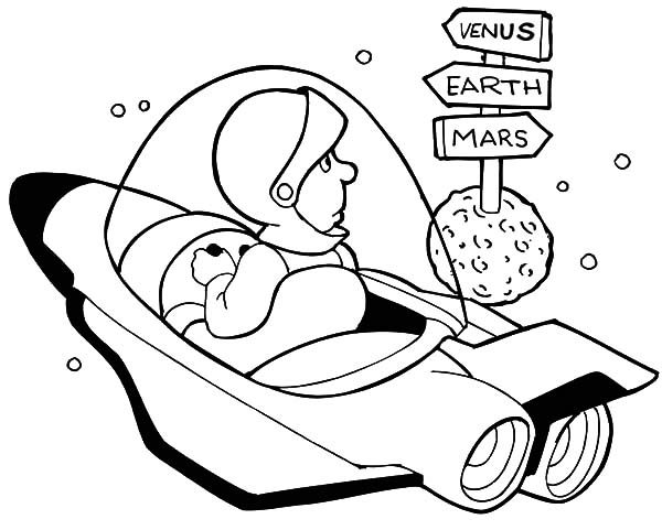Space Travel, : Space Travel Road Signs Coloring Pages