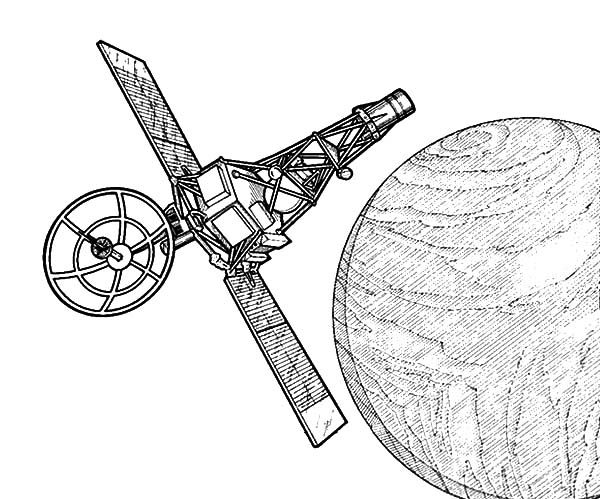 Space Travel, : Space Travel Satellite Orbit Coloring Pages