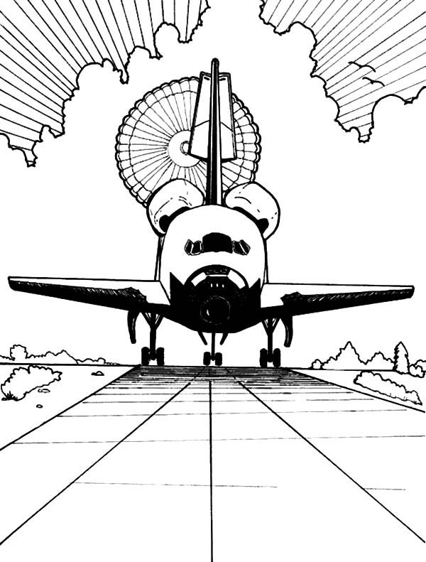 Space Travel, : Space Travel Space Shuttle Landing Coloring Pages