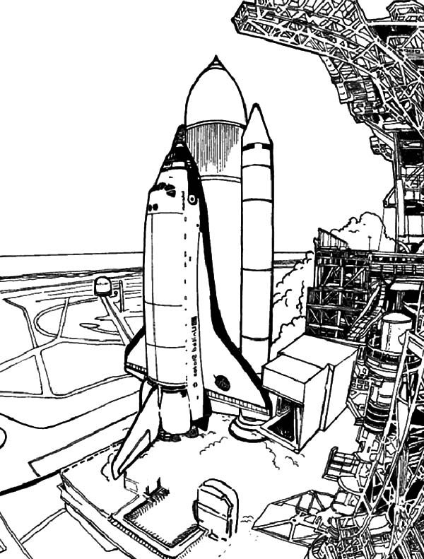 Space Travel, : Spaceship Prepare Before Launch for Space Travel Coloring Pages