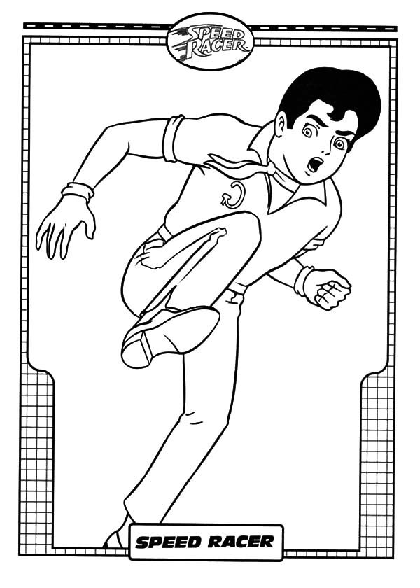 Speed Racer, : Speed Racer Kick Coloring Pages