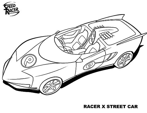 Speed Racer, : Speed Racer X Street Car Coloring Pages