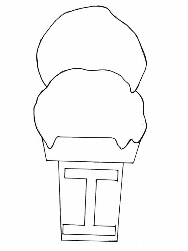 Letter I, : Spelling Ice Cream for Letter I Coloring Page