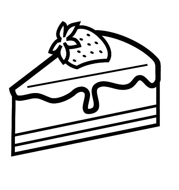 Cake Slice, : Strawberry Cake Slice Coloring Pages