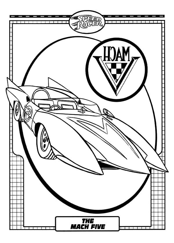 Speed Racer, : The Mach Five of Speed Racer Coloring Pages