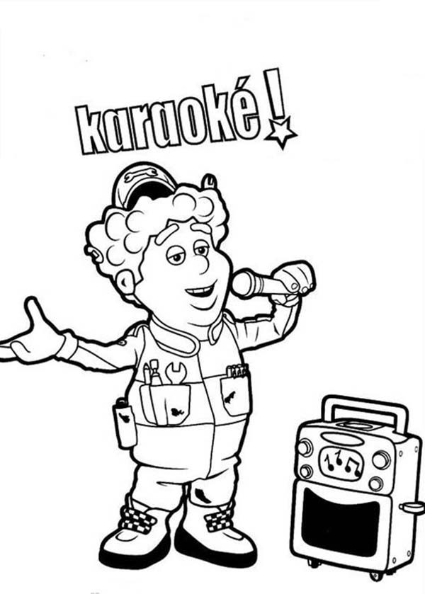 Roary the Racing Car, : The Mechanic is Singing in Roary the Racing Car Coloring Pages