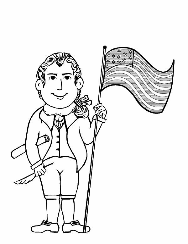 Independence Day, : Thomas Jefferson and American Flag on 4th July Independence Day Coloring Page
