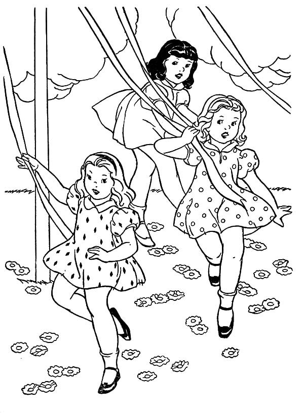 May Day, : Three Little Girls Dance May Day Coloring Pages