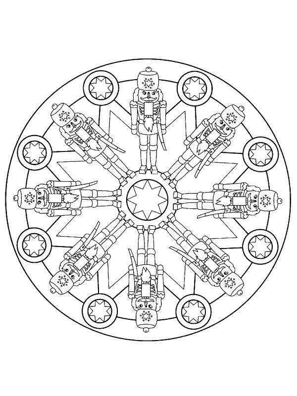 Christmas Mandala, : Toys for Mandala Christmas Coloring Pages