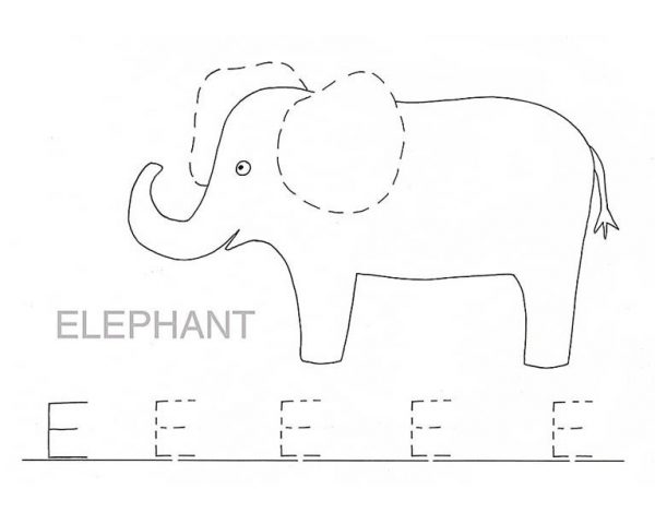 Letter E, : Trace Letter E for Elephant Coloring Page