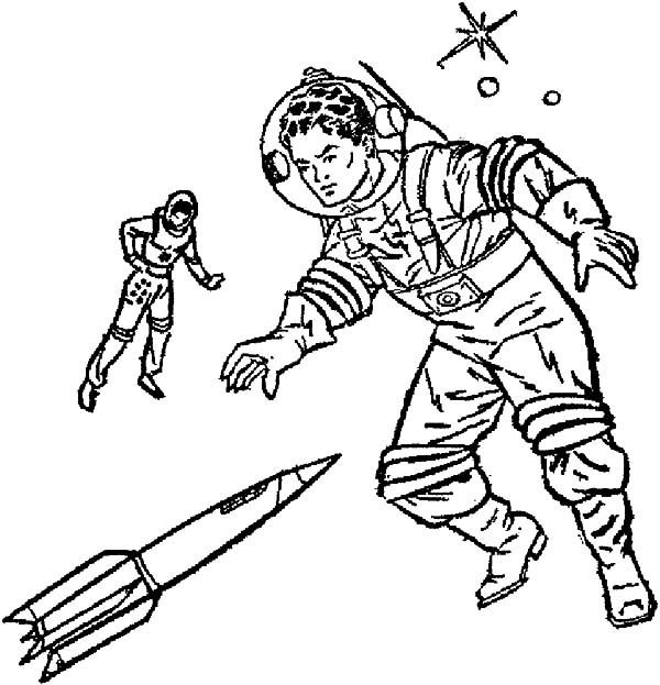 Space Travel, : Two Astronout Floating on Space Travel Coloring Pages