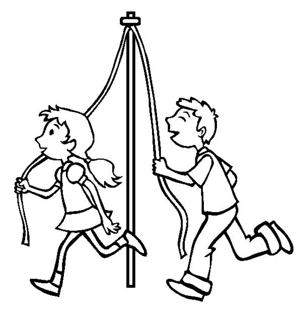 May Day, : Two Kids Bring Pole for Maypole Dance on May Day Coloring Pages