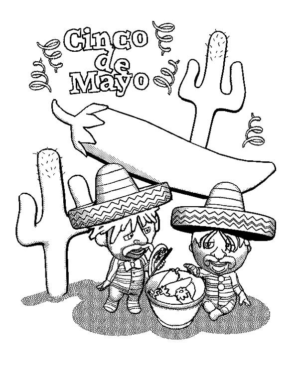 Cinco de Mayo, : Two Mexican Eat Chili in Cinco de Mayo Coloring Pages