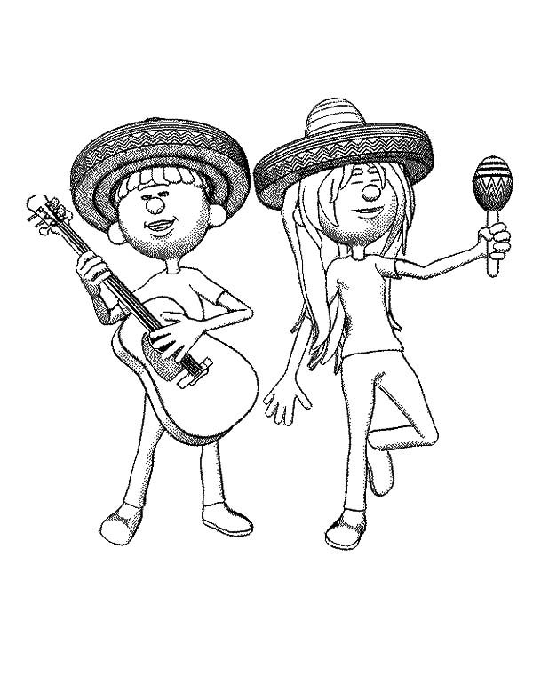 Cinco de Mayo, : Two Musician Play Guitar and Maracas Cinco de Mayo Coloring Pages